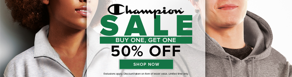 Picture of students wearing sweatshirts. Champion Sale, Buy One, Get One 50% Off. Exclusions apply. Discount taken on item of lesser value. Limited time only. Click to shop now.