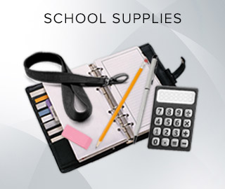 Picture of school supplies. Click here to shop school supplies.